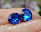 Royal Blue Sapphire, Vintage Swarovski Crystal, 12x10mm Oval Crystal Sew On, Article 4120 September Birthstone, Bead Embroidery Component