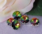 Vitrail Medium Rivoli Genuine Swarovski Crystal 14mm 1122 With Prong Setting Crystal Sew On   , Bead Embroidery