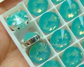 Pacific Opal, Swarovski Crystal 10mm Rivoli, Sew On Crystal, Rhinestone Sew On, Crystal , Pacific Opal Green Blue, Bead Embroidery Component