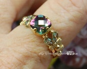 Rainbow Mystic Topaz, Handmade Ring, Checkerboard Faceted Cut, Handmade Wire Wrapped Ring, Fine Jewelry, November Birthstone