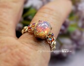 Pink Opal Ring, Vintage West German 1950's Glass, Handmade Ring, October Birthstone