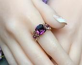 Amethyst Ring, Genuine Swarovski, Vintage Crystal Handmade Ring, Unique Engagement Ring, February Birthstone