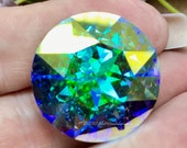 27mm Genuine Swarovski Clear Crystal AB, 1201 Round Crystal, Available With or Without Setting, Bead Embroidery Component