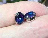 Heliotrope, 2 Pcs Swarovski Crystal 8x6mm Oval, With Silver or Gold Plated Setting, Bead Embroidery Component