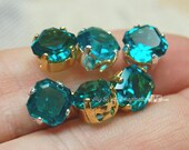 6 Pcs Blue Zircon 6mm Vintage West German Double Cut Square Octagon  with Sew On Setting December Birthstone, Bead Embroidery Component