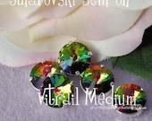Vitrail Medium Rivoli Swarovski Crystal 12mm 1122 With Prong Setting Crystal Sew On  Genuine Swarovski in Sew on Setting, Bead Embroidery