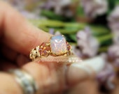 Pink Opal Ring Vintage West German Octagon Pink Opal Glass Handmade Ring, October Birthstone