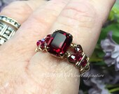 Ruby Red Octagon, Vintage Swarovski Crystal, Handmade Ring, Dark Ruby Red, July Birthstone