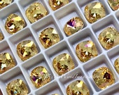 Crystal Amber Blush, Genuine Swarovski Crystal, 8mm Fancy Article 4470 Crystal with Setting, Golden Yellow, Pink AB, Bead Embroidery