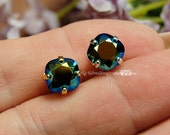 Jet AB, 2 Pcs Vintage Swarovski, 8mm Fancy Art 4470 Cushion Cut Square, Crystal Sew On, Jet Black Mirror Finish, Bead Embroidery