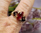 Siam Ruby Red Navette-Marquise, Handmade Ring, Dark and Dreamy Ruby Red, July Birthstone