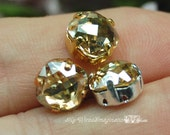 Golden Shadow, 8mm Vintage Swarovski, Antique Checkerboard, 4461 Cushion Cut, with Sew On Setting Crystal , Similar 4470, Bead Embroidery