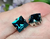 Blue Zircon Crystal, 8mm Vintage Swarovski, 2 Pieces Genuine Swarovski, Art 4400 Square with Sew On Setting December Birthstone Teal Blue
