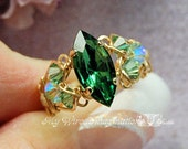 Tourmaline Forest Green, Swarovski Navette-Marquise, Handmade Crystal Ring, Dark Emerald Green