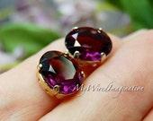Transparent Amethyst, 2 Pcs Swarovski Crystal, Deep Purple, 12x10mm Oval, Crystal Sew On, Article 4120, February Birthstone
