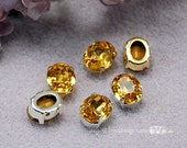 Topaz Yellow, Vintage Swarovski Crystal 10 x 8mm, 1 Pc Topaze Oval Shape With Silver or Gold Plated Setting