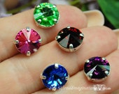 Vintage Swarovski Rivoli 1122 Sew On Crystal 10mm 7-Colors Available With Prong Setting Crystal Sew On, Bead Embroidery