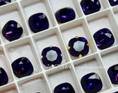 Purple Velvet, Cushion Cut 4470 Swarovski Crystal 10mm With Prong Setting, Purple Crystal Sew On, Dark Ultra-Violet Purple,