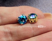 Aqua Shimmer, 2 Pcs Swarovski Crystal  39ss 8mm Xirus Chaton With Prong Setting, Ocean Blue AB, Bead Embroidery Component