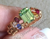Crystal Chakra Ring, Vintage Swarovski Chrysolite, 7 Chakra Healing Colors, Handmade Ring, Unique Engagement Ring