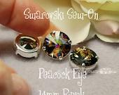 Peacock Eye Rivoli, 1122 Sew On Swarovski Crystal, 14mm With Prong Setting, Crystal Sew On  Jewelry Beading Crafts