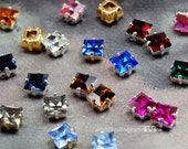 2 Pcs Vintage Swarovski Crystal or CZ 6mm Square Rhinestone 30 Colors With Prong Settings Crystal Sew On  , Bead Embroidery