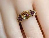 Swarovski Crystal Handmade Ring, Amber Blush and Amethyst, Unique Engagement Anniversary Gift