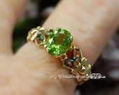 Genuine Peridot Handmade Ring, Signature Design, August Birthstone Ring