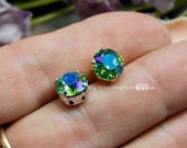 Peridot Shimmer Sew On Swarovski Crystal 39ss Xirus Chaton 8mm With Prong Setting   August Birthstone, Bead Embroidery