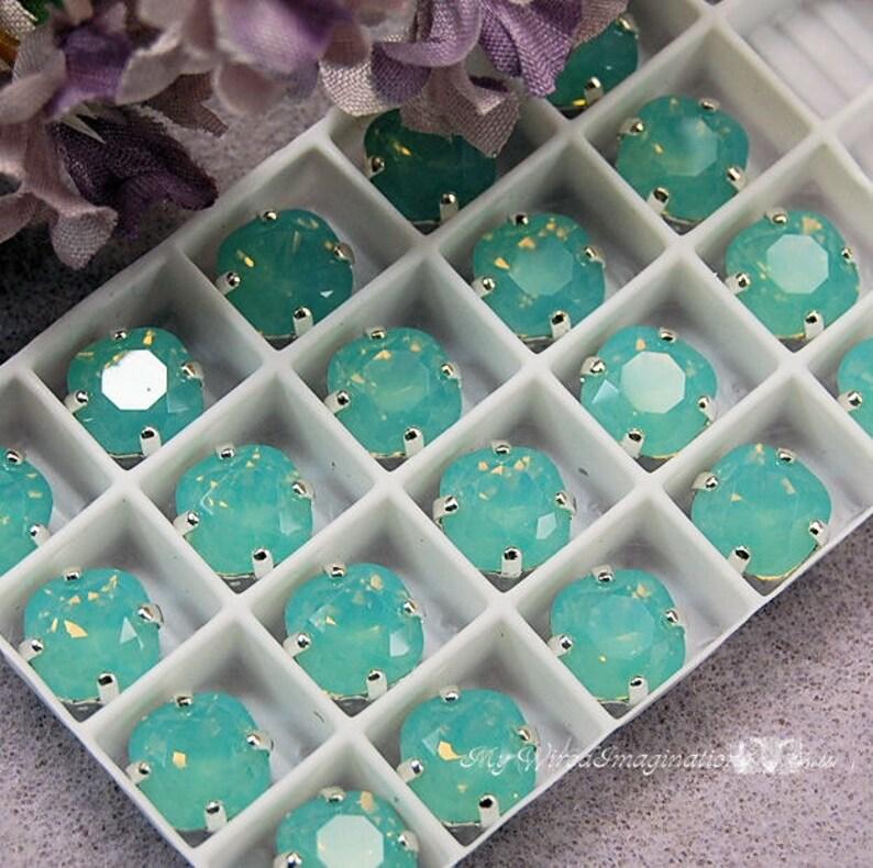 Pacific Opal Sew On Swarovski Crystal 8mm Fancy 4470 Cushion image 0