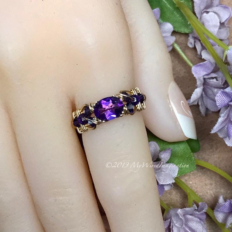 Royal Amethyst AAA Handmade Ring Dark Purple Amethyst Ring image 0