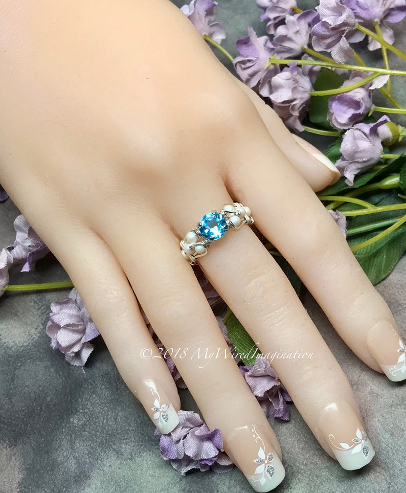 LAST ONE Sky Blue Topaz and Crystal Pearl Handmade Ring image 0