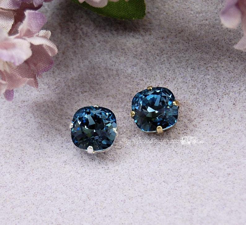 Swarovski Crystal Denim Blue 10mm 4470 Cushion Cut Square in image 0
