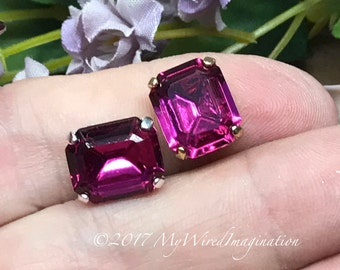Fuchsia Fancy Octagon, Swarovski Crystal 12x10mm, Art 4610 With Prong Setting, Crystal Sew On, Bead Embroidery Component