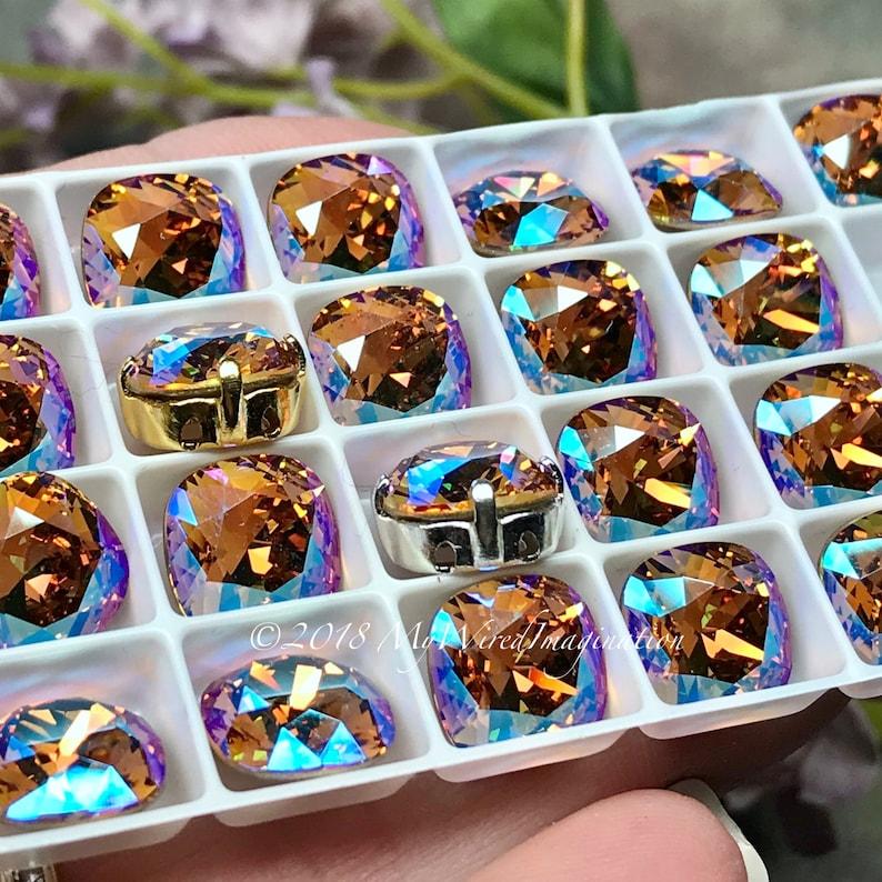 Light Colorado Topaz Shimmer Genuine Swarovski 4470 Cushion image 0