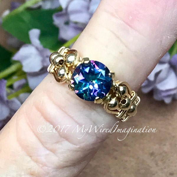 Mystic Topaz Peacock Blue Handmade Ring Genuine Mystic image 2