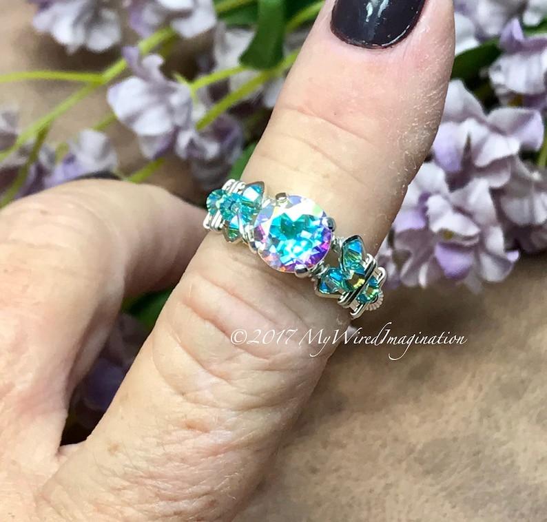 Round Opalescent Topaz Mercury Mystic Topaz Handmade Ring image 0