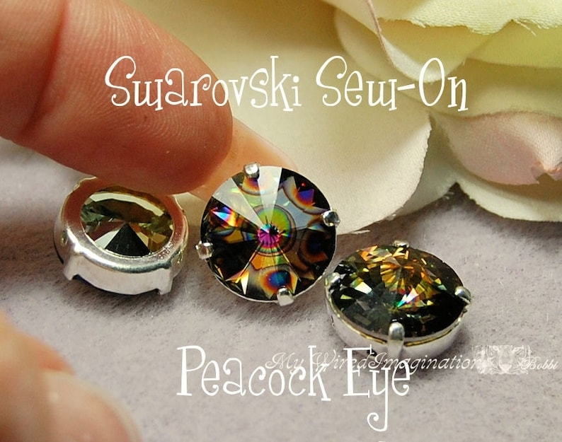 12mm Peacock Eye Rivoli 1122 Sew On Swarovski Crystal image 0