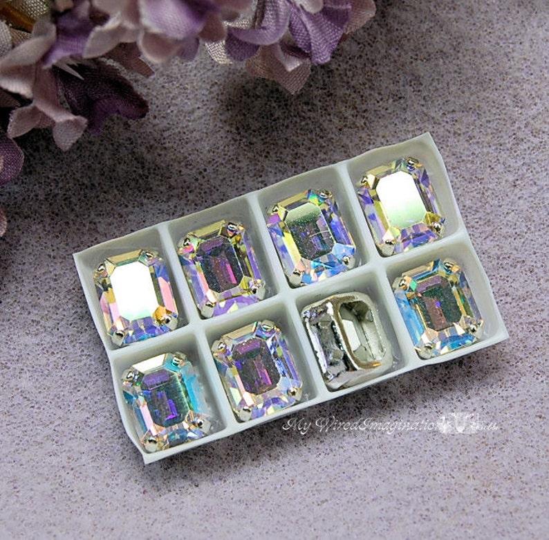 Swarovski Crystal AB 10x8mm Clear Crystal AB 2 Pieces image 0