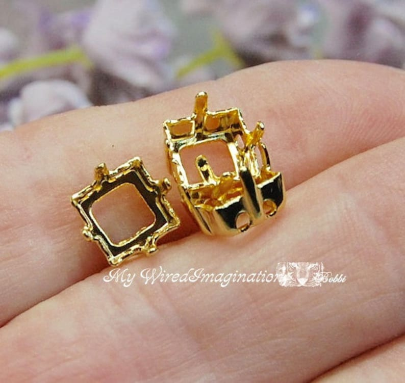 3pcs Silver or Gold Plated s 8mm Square Articles 4400 4410 Gold Plated
