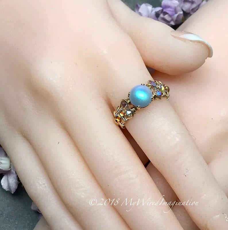 Swarovski Pearl Ring Iridescent Light Blue Pearl & Swarovski image 0