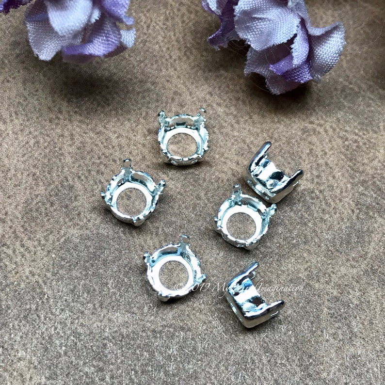 34ss Silver or Gold Plated 6 pcs for 34ss/7mm Round Silver Plated