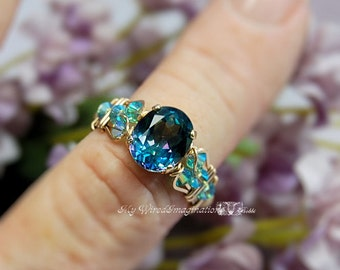 Mystic Topaz Handmade Ring, Peacock Blue Rainbow Mystic Topaz Ring, Unique Engagement, Statement Ring