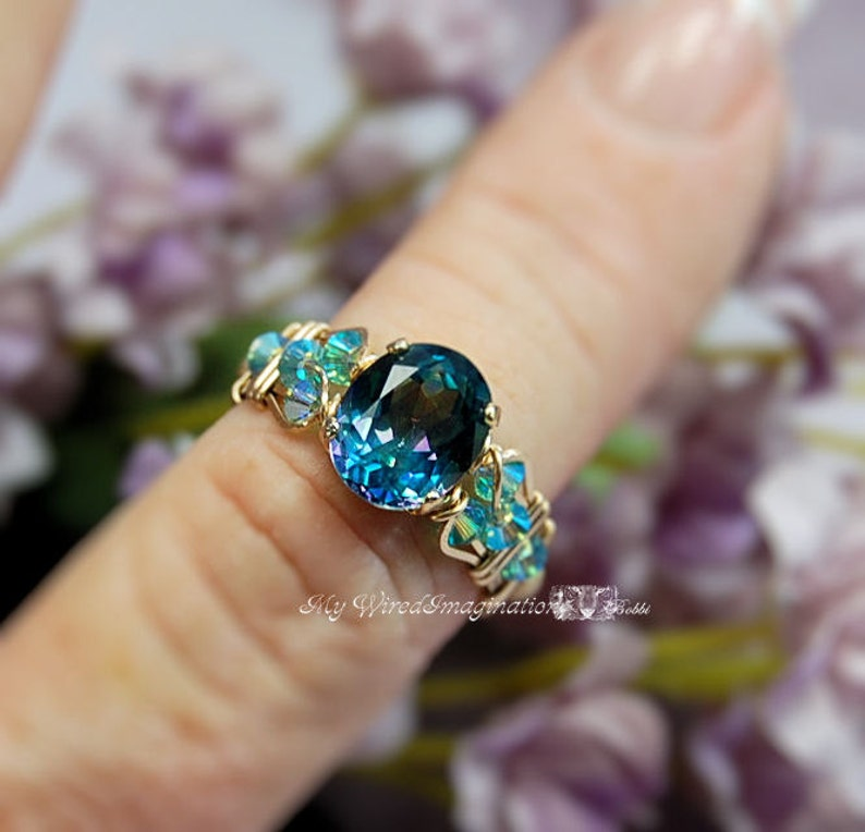 Mystic Topaz Handmade Ring Peacock Blue Rainbow Mystic Topaz 14k Gold Filled