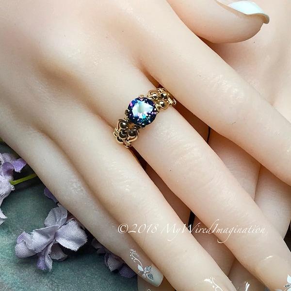 Mystic Topaz Peacock Blue Handmade Ring Genuine Mystic image 1