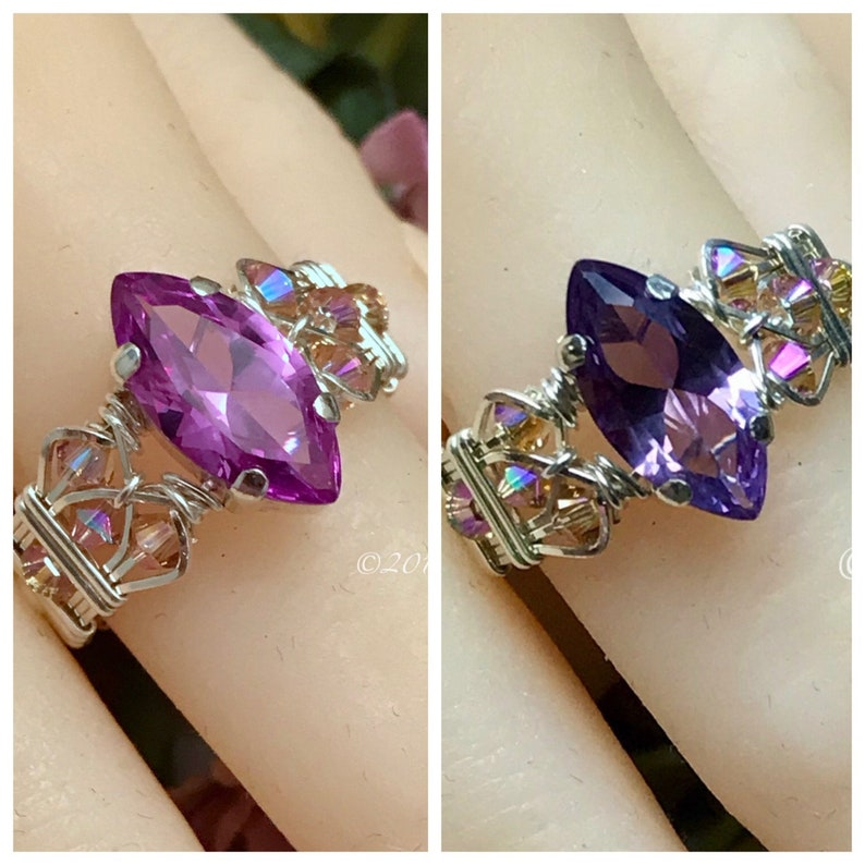 Marquise Alexandrite in Sterling Silver Wideband Handmade image 0