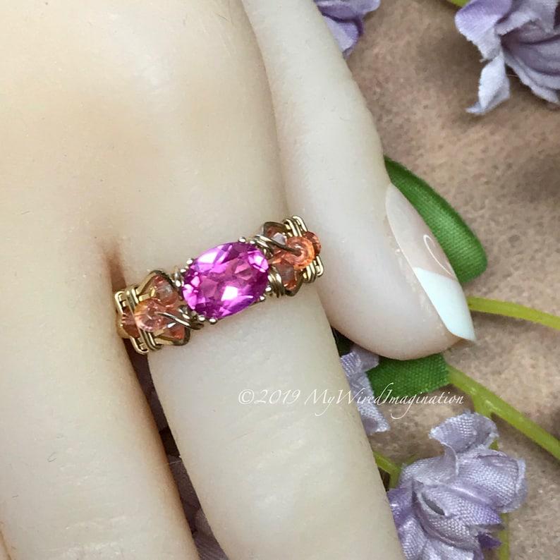 Bright Pink Sapphire Handmade Ring Lab Created Pink Sapphire image 0