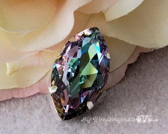 Vitrail Light, Navette 32x17mm,Genuine Swarovski Crystal, Article 4227 Vitrail Lite, With Setting, Hard to Find Lg Brooch Crystal