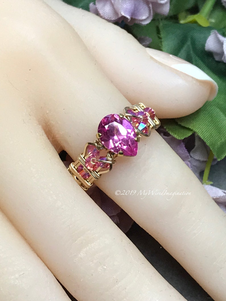 Stunning Hot Pink Sapphire Handmade Ring with Rose Pink image 0