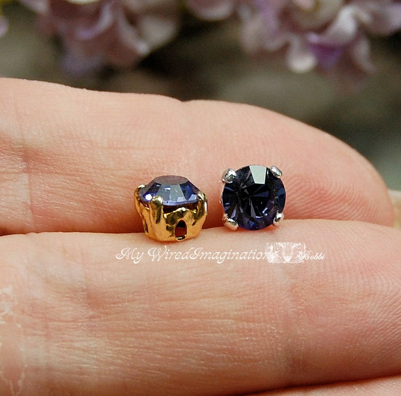 Tanzanite Purple Vintage Swarovski Crystal 30ss 6.25mm image 0